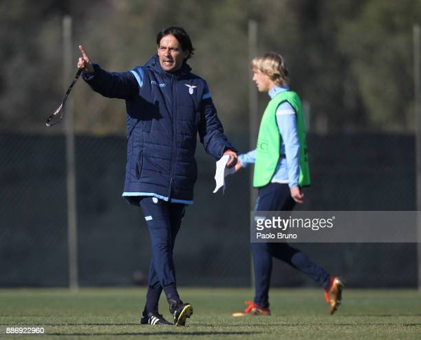 Lazio head coach Simone Inzaghi gestures during the SS Lazio training session on December 6 2017 in Rome Italy