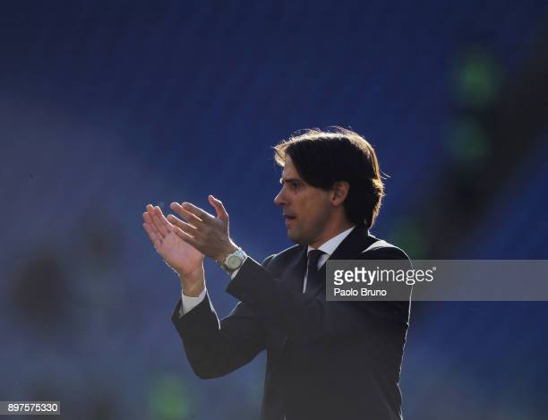 Lazio head coach Simone Inzaghi greets the fans after the Serie A match between SS Lazio and FC Crotone at Stadio Olimpico on December 23 2017 in...
