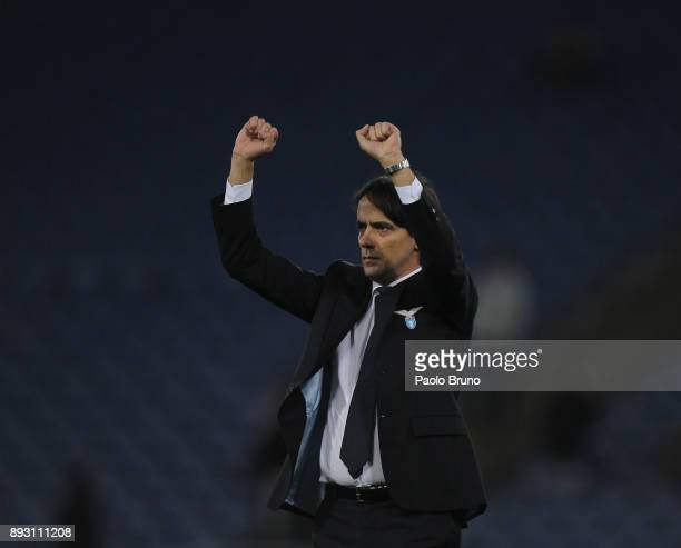 Lazio head coach Simone Inzaghi greets the fans during the TIM Cup match between SS Lazio and Cittadella on December 14 2017 in Rome Italy