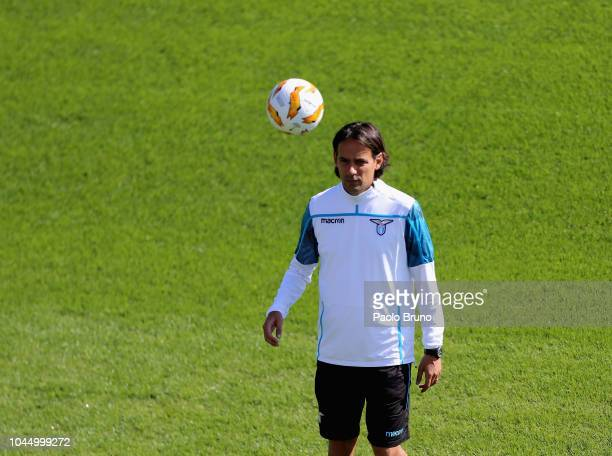 Lazio head coach Simone Inzaghi in action during the SS Lazio training session on October 3 2018 in Rome Italy