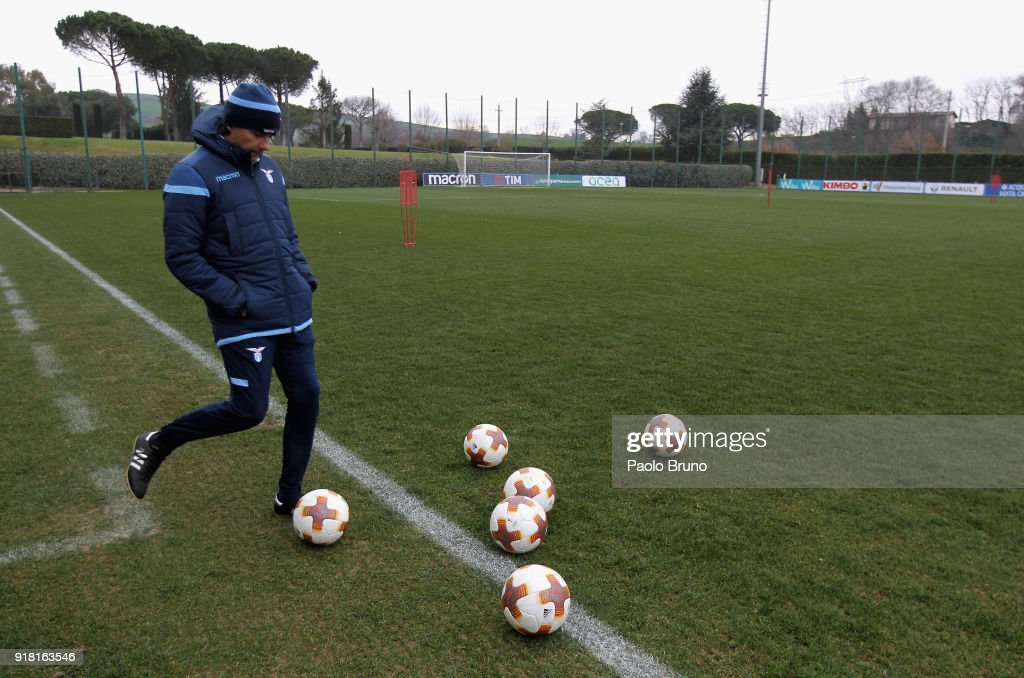 SS Lazio head coach Simone Inzaghi kicks the ball during the SS Lazio training session on February 14, 2018 in Rome, Italy.