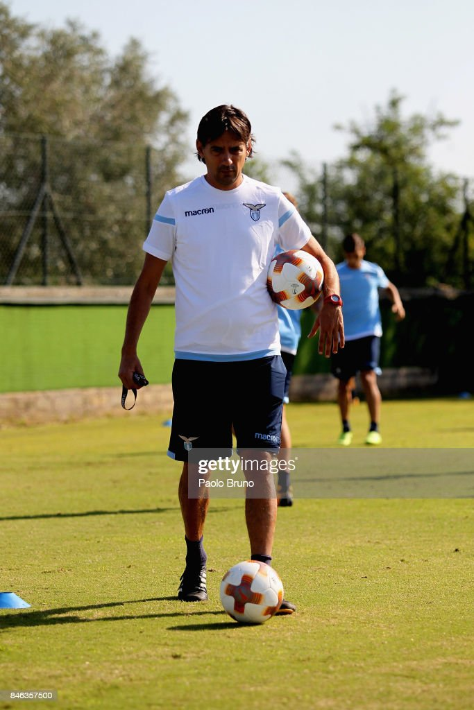 SS Lazio head coach Simone Inzaghi looks on during the SS Lazio training session on September 13, 2017 in Rome, Italy.