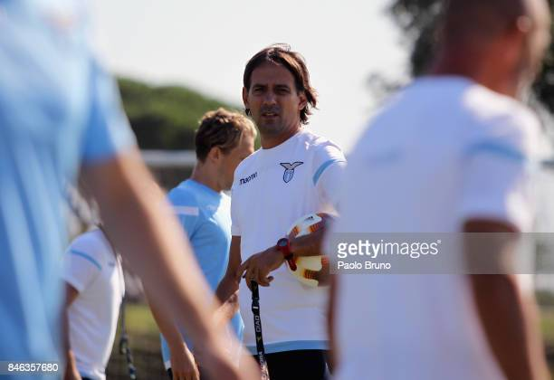 Lazio head coach Simone Inzaghi looks on during the SS Lazio training session on September 13 2017 in Rome Italy