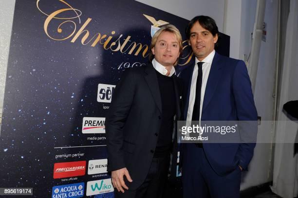 Lazio head coach Simone Inzaghi of SS Lazio and Stefano De Martino pose during the SS Lazio Christmas Party on December 19, 2017 in Rome, Italy.