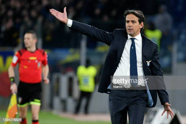 Lazio head coach Simone Inzaghi reacts during the Serie A match between SS Lazio and Hellas Verona at Stadio Olimpico on February 05 2020 in Rome...
