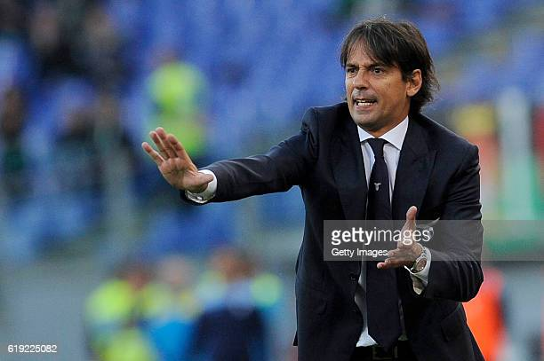 Lazio head coach Simone Inzaghi reacts during the Serie A match between SS Lazio and US Sassuolo at Stadio Olimpico on October 30 2016 in Rome Italy