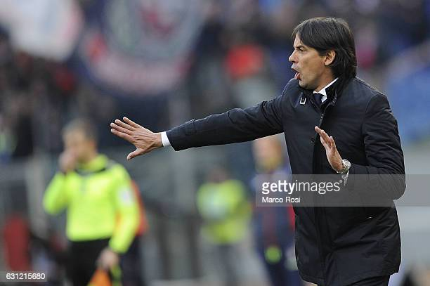 Lazio head coach Simone Inzaghi reacts during the Serie A match between SS Lazio and FC Crotone at Stadio Olimpico on January 8 2017 in Rome Italy