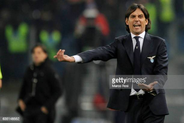 Lazio head coach Simone Inzaghi reacts during the Serie A match between SS Lazio and AC Milan at Stadio Olimpico on February 13 2017 in Rome Italy