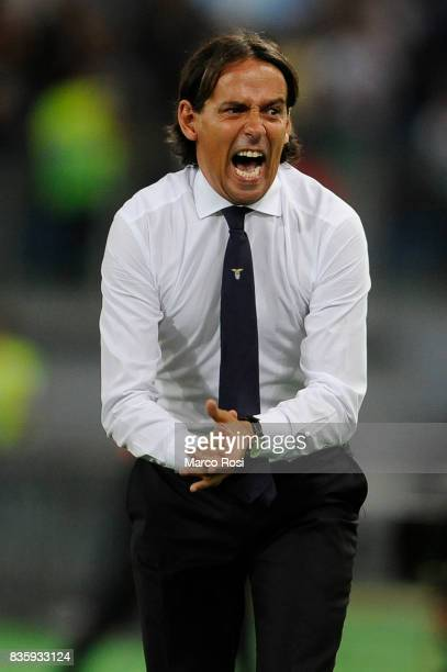 Lazio head coach Simone Inzaghi reacts during the Serie A match between SS Lazio and Spal at Olimpico Stadium on August 20 2017 in Rome Italy