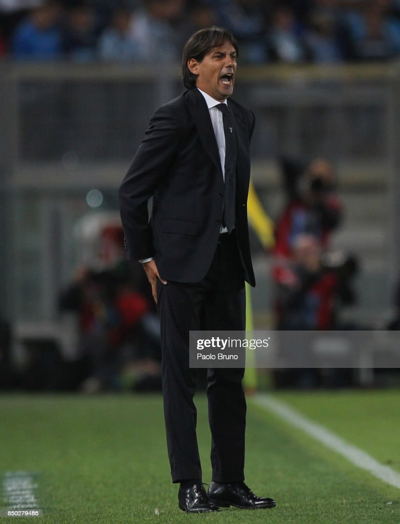 SS Lazio head coach Simone Inzaghi reacts during the Serie A match between SS Lazio and SSC Napoli at Stadio Olimpico on September 20, 2017 in Rome, Italy.