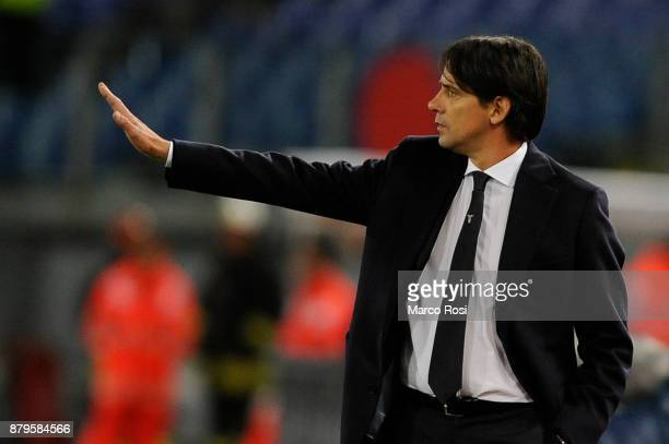 Lazio head coach Simone Inzaghi reacts during the Serie A match between SS Lazio and ACF Fiorentina at Stadio Olimpico on November 26 2017 in Rome...