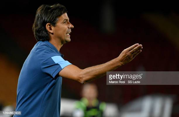 Lazio head coach Simone Inzaghi reacts during the Serie A match between US Lecce and SS Lazio at Stadio Via del Mare on July 07 2020 in Lecce Italy