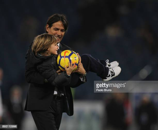 Lazio head coach Simone Inzaghi reacts with his son during the TIM Cup match between SS Lazio and Cittadella on December 14 2017 in Rome Italy