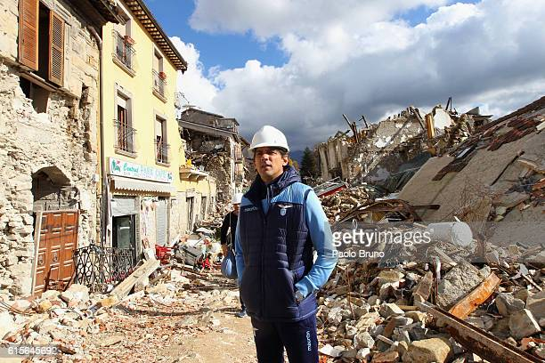 Lazio head coach Simone Inzaghi visits Amatrice near Rieti Italy Amatrice and surrounding area were devasted by an earthquake on the 24th August 2016