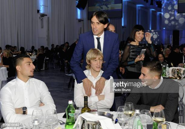 Lazio head coach Simone Inzaghi with Dusan Basta and his teammates attend the SS Lazio Christmas Party on December 19 2017 in Rome Italy