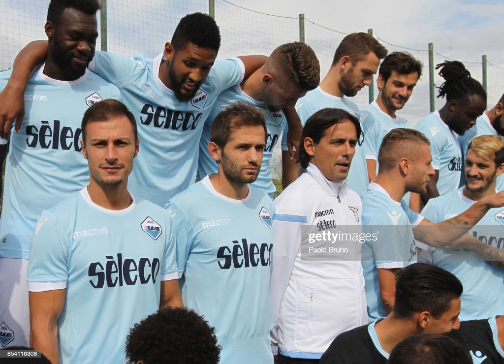 SS Lazio head coach Simone Inzaghi with his pleyers pose during the SS Lazio official team photo on September 26, 2017 in Rome, Italy.