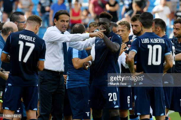 Lazio head coach Simone Inzaghi with his team mates during the Serie A match between SPAL and SS Lazio at Stadio Paolo Mazza on September 15 2019 in...