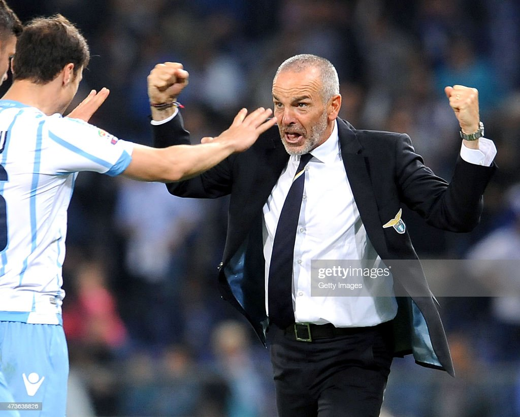 SS Lazio head coach Stefano Pioli celebrates victory at the end of the Serie A match between UC Sampdoria and SS Lazio at Stadio Luigi Ferraris on May 16, 2015 in Genoa, Italy.