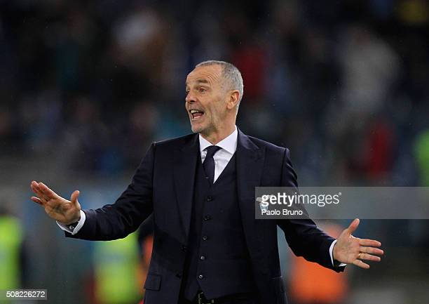 Lazio head coach Stefano Pioli gestures during the Serie A match between SS Lazio and SSC Napoli at Stadio Olimpico on February 3 2016 in Rome Italy