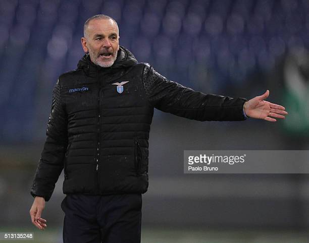 Lazio head coach Stefano Pioli gestures during the Serie A match between SS Lazio and US Sassuolo Calcio at Stadio Olimpico on February 29 2016 in...
