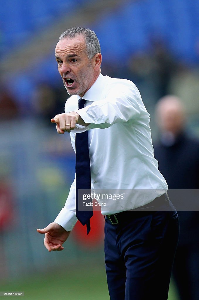 SS Lazio head coach Stefano Pioli reacts during the Serie A match between SS Lazio and AC Chievo Verona at Stadio Olimpico on January 24, 2016 in Rome, Italy.