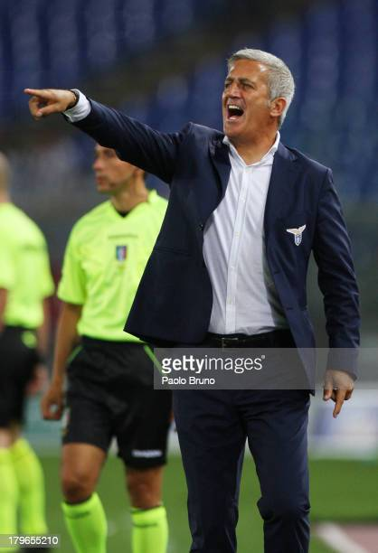 Lazio head coach Vladimir Petkovic gestures during the Serie A match between SS Lazio and Udinese Calcio at Stadio Olimpico on August 25 2013 in Rome...