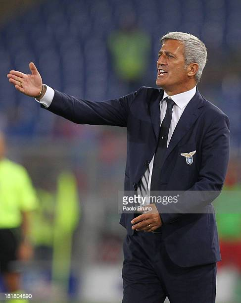 Lazio head coach Vladimir Petkovic gestures during the Serie A match between Calcio Catania and SS Lazio at Stadio Olimpico on September 25 2013 in...