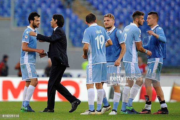 Lazio head cosch celebrates a winnen game at the end of match the Serie A match between SS Lazio and US Sassuolo at Stadio Olimpico on October 30,...