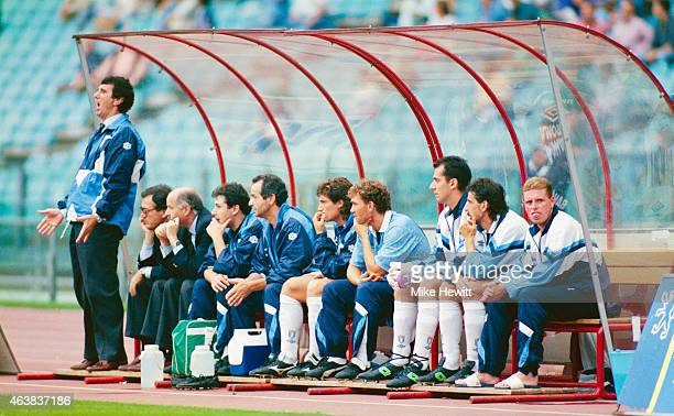 Lazio manager Dino Zoff shouts instructions as player Paul Gascoigne sticks out his tongue during a Serie A match between Lazio and Genoa at the...