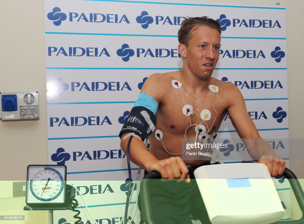 SS Lazio new player Lucas Leiva attends medical test on July 17, 2017 in Rome, Italy.