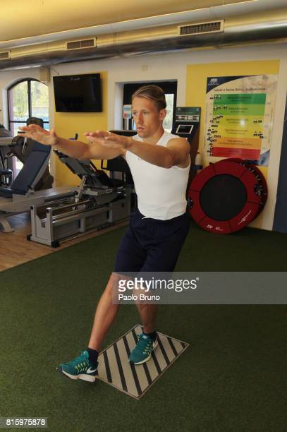 Lazio new player Lucas Leiva attends medical test on July 17 2017 in Rome Italy