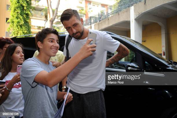Lazio new signing Francesco Acerbi attends medical tests on July 11 2018 in Rome Italy