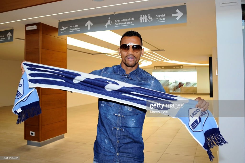 SS Lazio New Signing Nani arrives at Ciampino Airport on August 31, 2017 in Rome, Italy.
