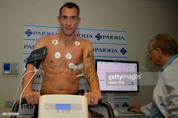 Lazio new signing Silvio Proto attend the medical Tests on July 4 2018 in Rome Italy