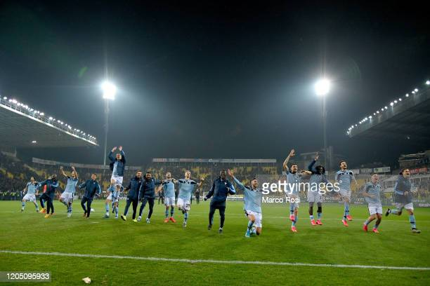 Lazio player celebrate after the Serie A match between Parma Calcio and SS Lazio at Stadio Ennio Tardini on February 09 2020 in Parma Italy