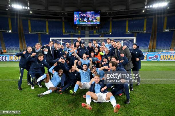 Lazio player celebrate victory after the Serie A match between SS Lazio and AS Roma at Stadio Olimpico on January 15, 2021 in Rome, Italy.