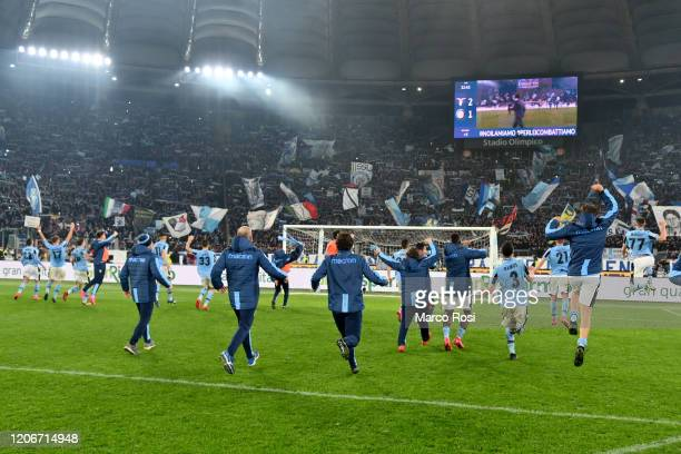 Lazio player celebrate winning after the Serie A match between SS Lazio and FC Internazionale at Stadio Olimpico on February 16, 2020 in Rome, Italy.