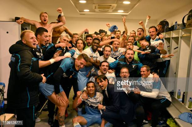 Lazio player celebrates their victory after the TIM Cup match between AC Milan and SS Lazio at Stadio Giuseppe Meazza on April 24, 2019 in Milan,...