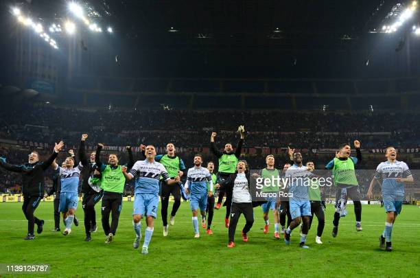 Lazio player celebrates their victory after the TIM Cup match between AC Milan and SS Lazio at Stadio Giuseppe Meazza on April 24 2019 in Milan Italy