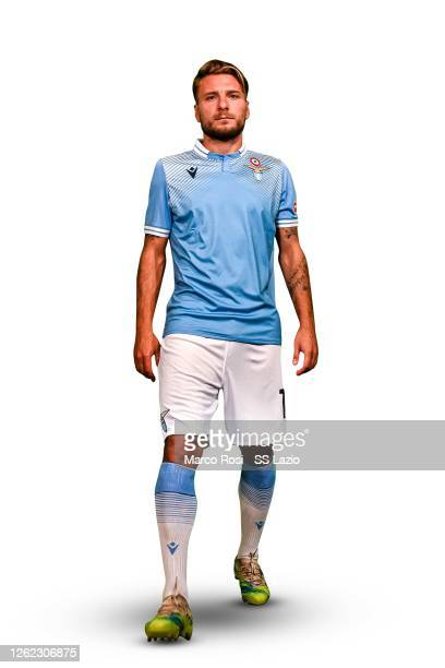 Lazio player Ciro Immobile with the new away shirt during the unveiling of SS Lazio new away and ahird shirt for season 2020/21 on July 29, 2020 in...