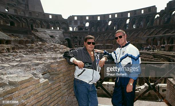 Lazio player Paul Gascoigne poses with his father John at the Colosseum on his first visit to Rome after signing from Tottenham Hotspur on August 1...