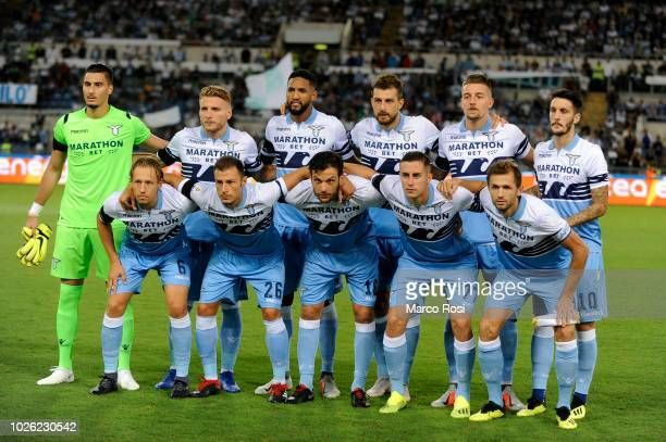 Lazio player pose a photo tram during the serie A match between SS Lazio and Frosinone Calcio at Stadio Olimpico on September 2 2018 in Rome Italy