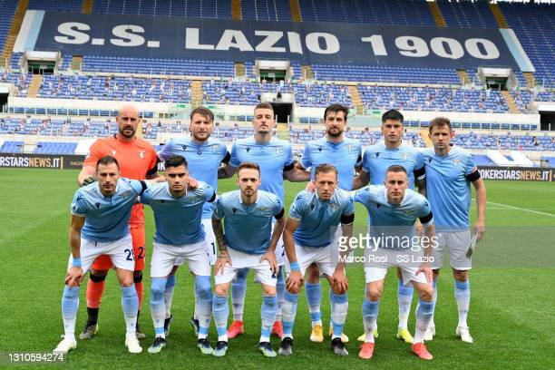 Lazio player pose aphoto team during the Serie A match between SS Lazio and Spezia Calcio at Stadio Olimpico on April 03, 2021 in Rome, Italy....
