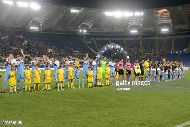 Lazio players before the Italian Serie A football match between SS Lazio and Frosinone at the Olympic Stadium in Rome on september 02 2018