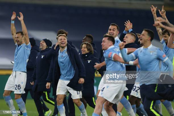 Lazio players celebrate at the end of the Serie A match between SS Lazio and AS Roma at Stadio Olimpico on January 15, 2021 in Rome, Italy.