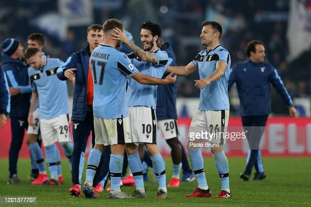 Lazio players celebrate the victory after the Serie A match between SS Lazio and FC Internazionale at Stadio Olimpico on February 16 2020 in Rome...