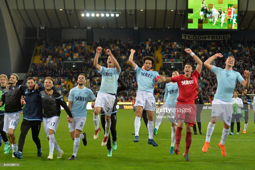 SS Lazio players celebrates a winner game atfer the serie A match between Udinese Calcio and SS Lazio at Stadio Friuli on April 8, 2018 in Udine, Italy.