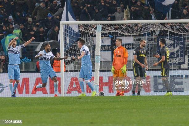 SS Lazio players celebrates after scoring goal 10 during the Italian Serie A football match between SS Lazio and FC Juventus at the Olympic Stadium...