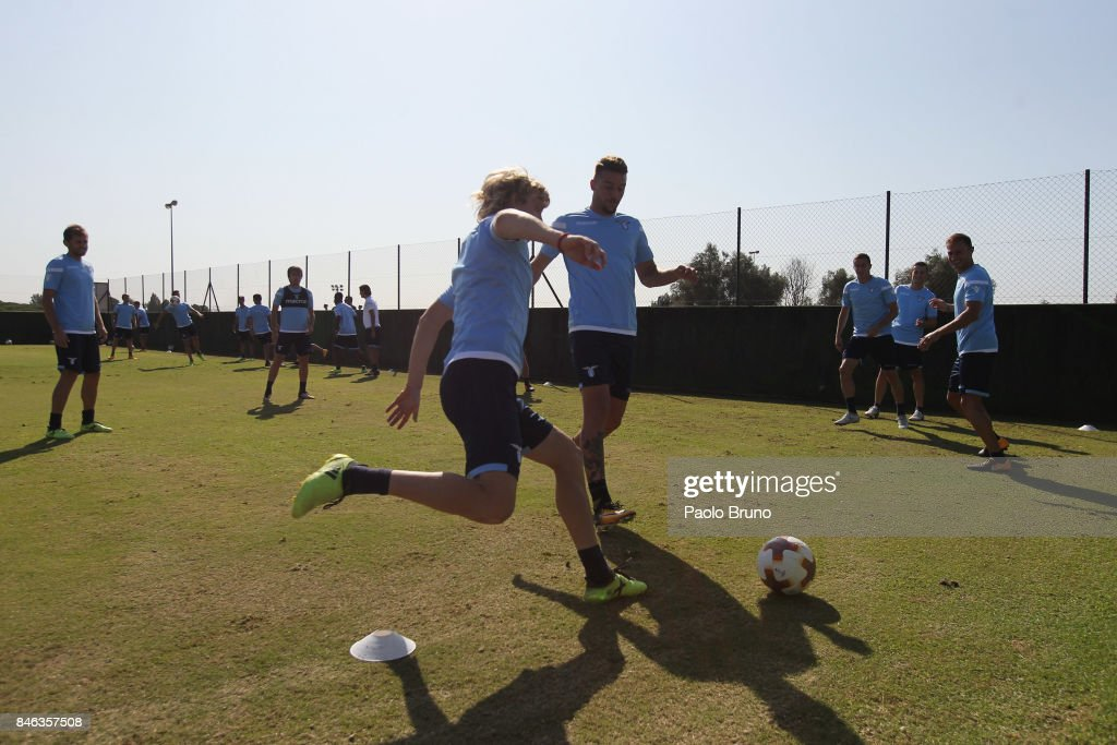 SS Lazio players in action during the SS Lazio training session on September 13, 2017 in Rome, Italy.