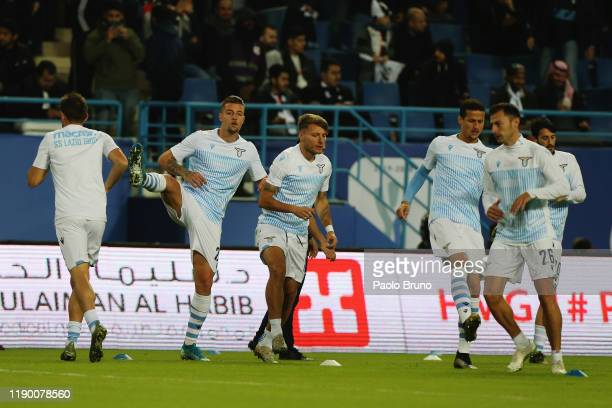 Lazio players in action during the warm up before the Italian Supercup match between Juventus and SS Lazio at King Saud University Stadium on...